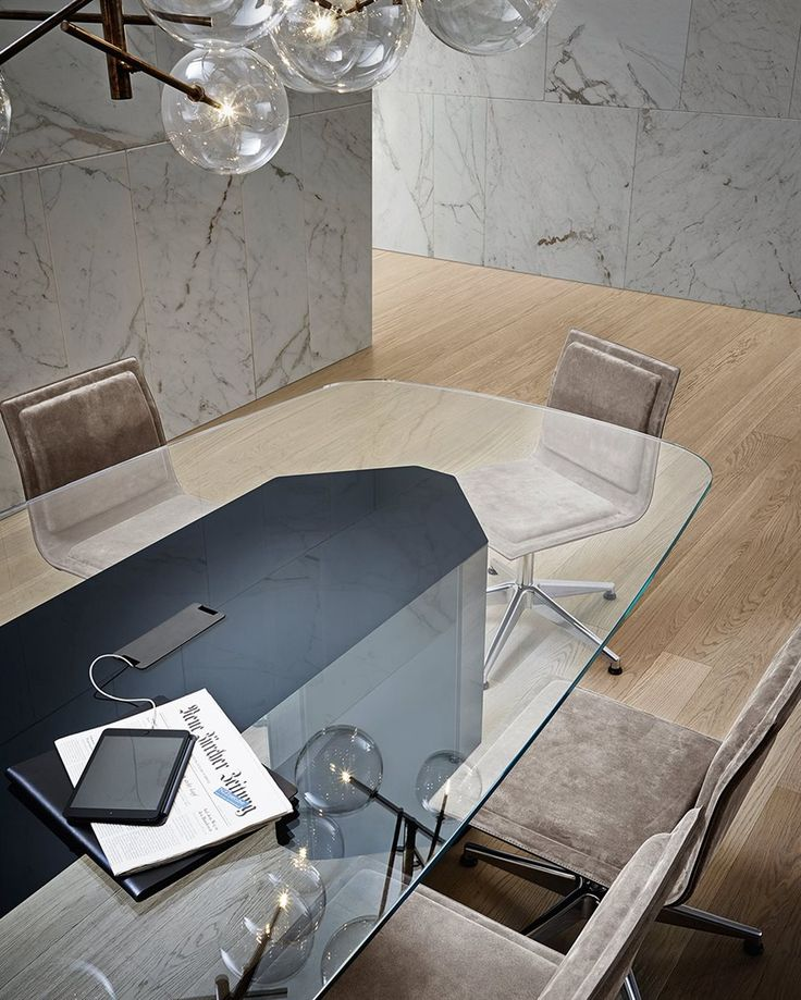 Akim System, modular composition with extralight glass top. Wooden base covered by painted glass. Designed by Oscar & Gabriele Buratti for Gallotti&Radice.