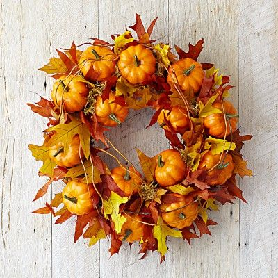 Maple Leaf Pumpkin Wreath - I can make this myself using leaves and fake pumpkins from Michaels crafts stores