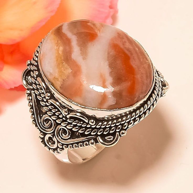Mexican Laguna Lace Agate Vintage Style 925 Sterling Silver Jewelry Ring 9.5 #Handmade #Statement