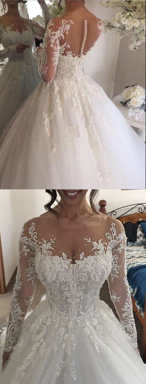 Chic Wedding Dresses Scoop Long Sleeve Ball Gown Beading Bridal Gown JKS245 #annapromdress #weddingdress #wedding #bridalgown #BridalGowns #cheapweddingdress #fashion #style #dance #bridal