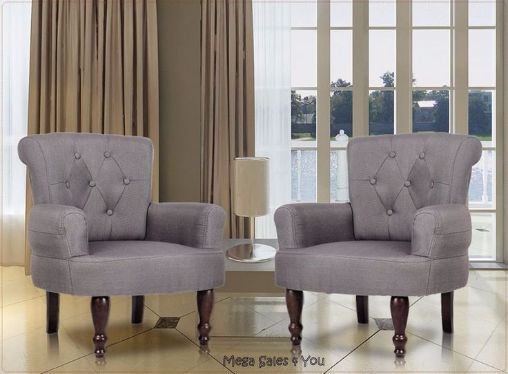 These Cozy French Style Armchairs Give Your Furniture A Touch Of Elegance.  Two Exposed Round