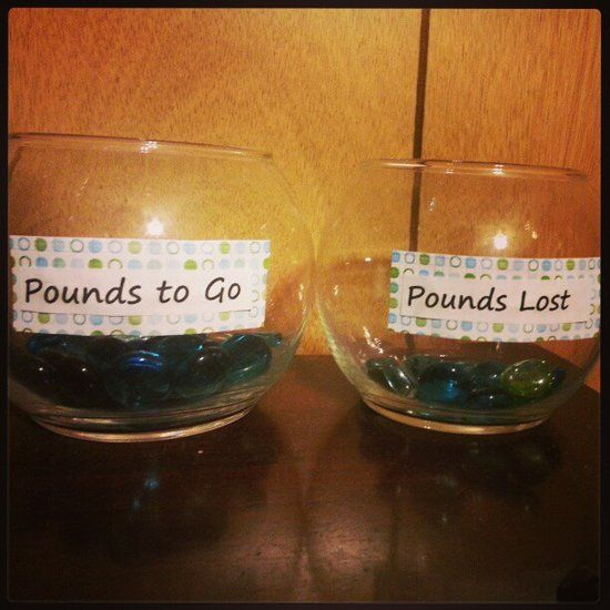 Weight-Loss Jars: Actually visualizing the pounds lost is serious motivation. Would weight-loss jars help you?    Neat idea