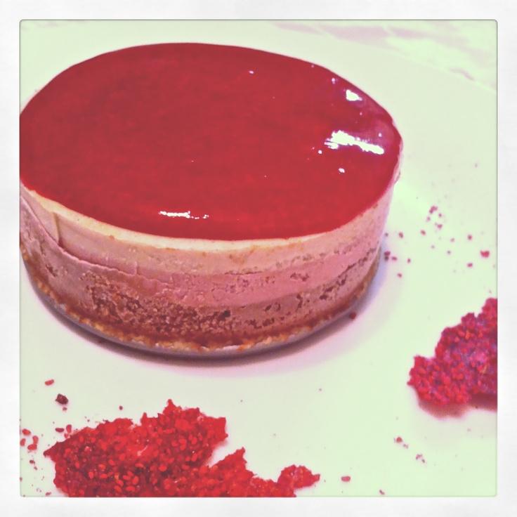 Living Organic Dessert. Neapolitan Frozen Cheesecake with Organic Raspberry Coulis