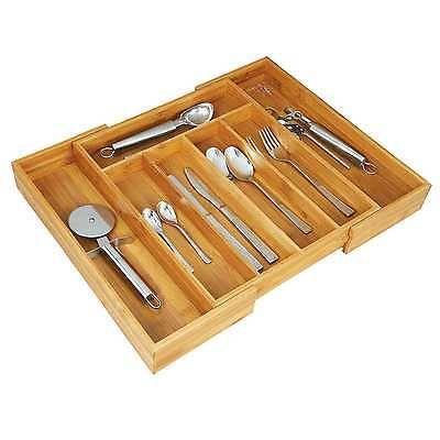 Besteckkasten variabel ausziehbar Besteckeinsatz Bambus Schubladeneinsatz