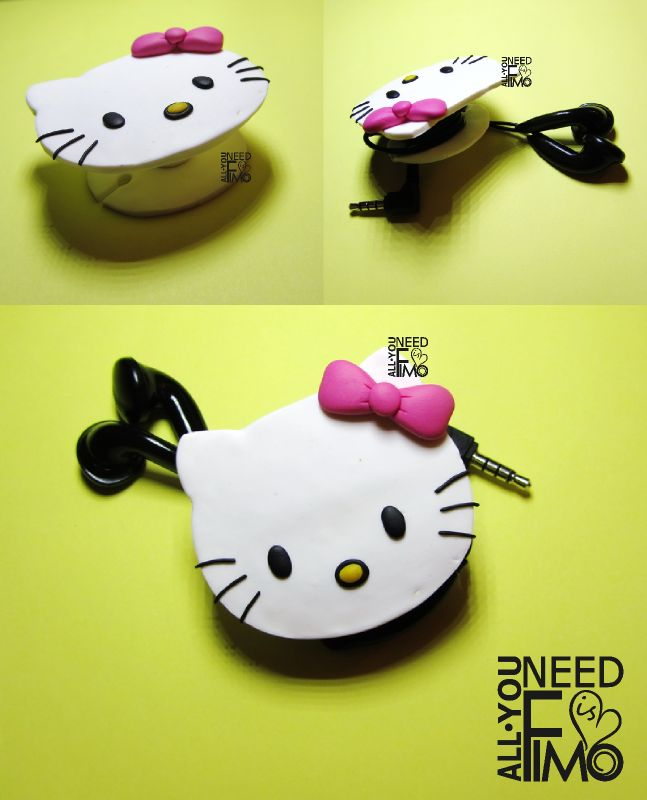 Inspired Hello Kitty fimo | Fimo cable winder | headphones cable winder | fimo…