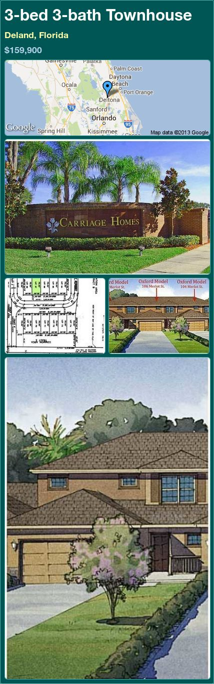 3-bed 3-bath Townhouse in Deland, Florida ►$159,900 #PropertyForSale #RealEstate #Florida http://florida-magic.com/properties/14700-townhouse-for-sale-in-deland-florida-with-3-bedroom-3-bathroom