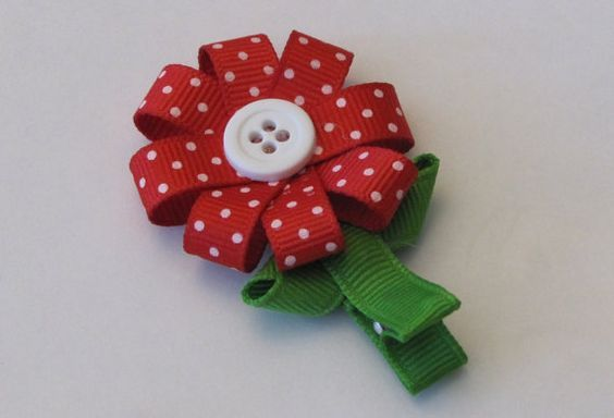Red and white flower boutique hair bow clippie by LittleBugBows: