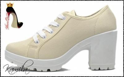 Kup teraz na allegro.pl za 19,99 zł - $ShoesQueen$ Botki Na Słupku Tkanina Beige 15339P (6065690986). Allegro.pl - Radość…