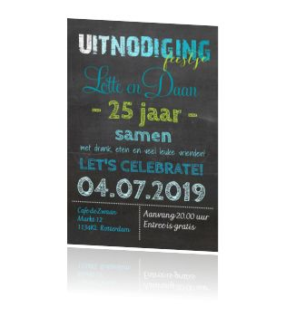 Hippe feest uitnodiging 25 jaar getrouwd blauw en groen