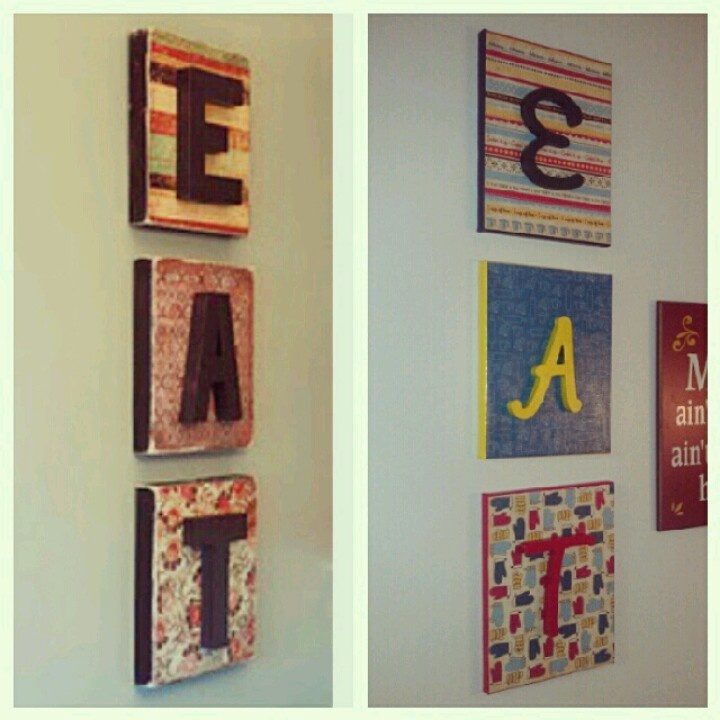 Canvas covered with kitchen themed scrapbook paper and wood letters (all from Michael's) and finished with a couple coats of mod podge... Nice addition to moms kitchen wall!