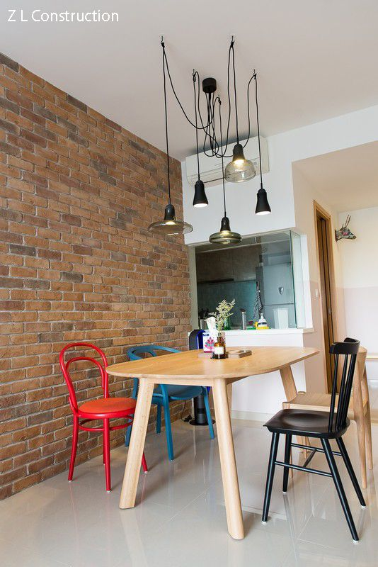 Z L Construction (Singapore) \\ Dining Area With Craftstone Brick Wall