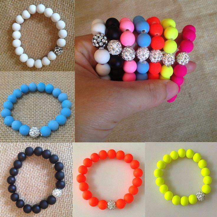 bracelet femme Rhinestone Beads Charm Bracelets Stretch Stone Fashion Jewelry Best Friend Candy Color