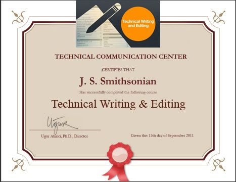 Technical Writing and Editing Online COurse Completion Certificate