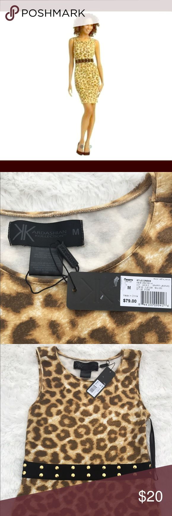 Kardashian Kollection Dress This leopard print bodycon dress has a black band with gold studs wrapped around. It's can be worn alone or with a cute blazer. Kardashian Kollection Dresses Mini