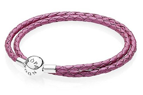 For a reasonable cost of £45 buy this Oriental Bloom Pink Leather Double Woven Bracelet by Pandora available at TH Baker.