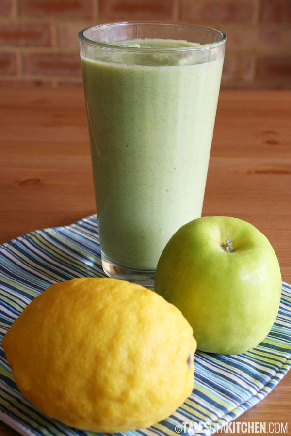 Health boosting and detoxifying green smoothie with broccoli, celery and apple. And a bunch of other goodies.