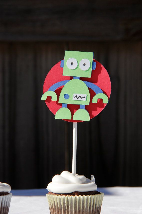 robot birthday cupcake toppers