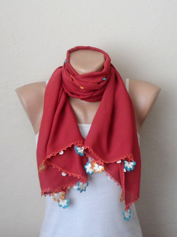 red scarf satin scarf oya scarf trendy scarf womens by DamlaScarf