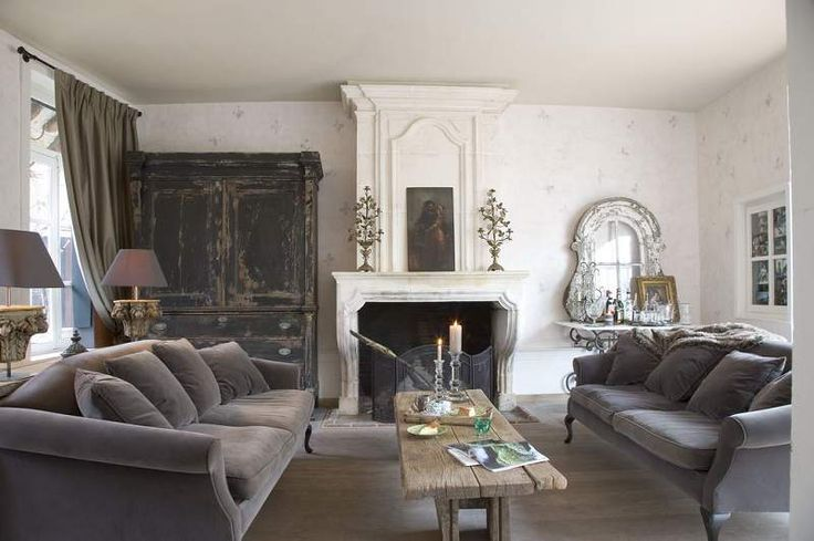 French grey velvet living room