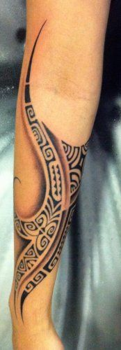Tattoo on Forearm Maori Polynesian style by Te Mana Julien