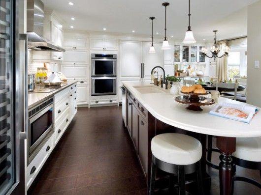 Galley kitchen: Dreams Kitchens, Kitchens Design, Kitchens Ideas, Corks Floors, Design Kitchen, Modern Kitchens, Candice Olson, White Cabinets, White Kitchens