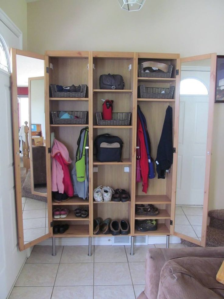 """We needed a good solution for coats, shoes. The space behind our door was too shallow (10"""") and was could only fit the Ikea Silveran Entryway Lockers hack."""