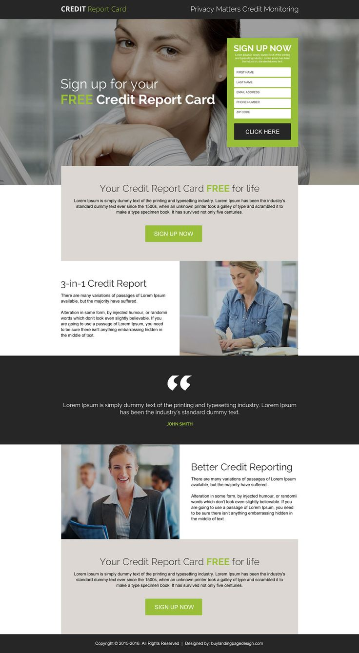 free credit report card sign up responsive landing page design