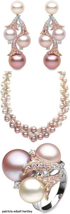 Yoko London ~rose gold, natural pink freshwater pearls and diamonds.