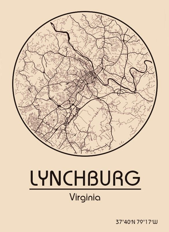 Karte / Map ~ Lynchburg, Virginia - Vereinigte Staaten von Amerika / United States of America / USA