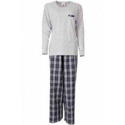 Dames pyjama met grijze top en geweven geruite broek
