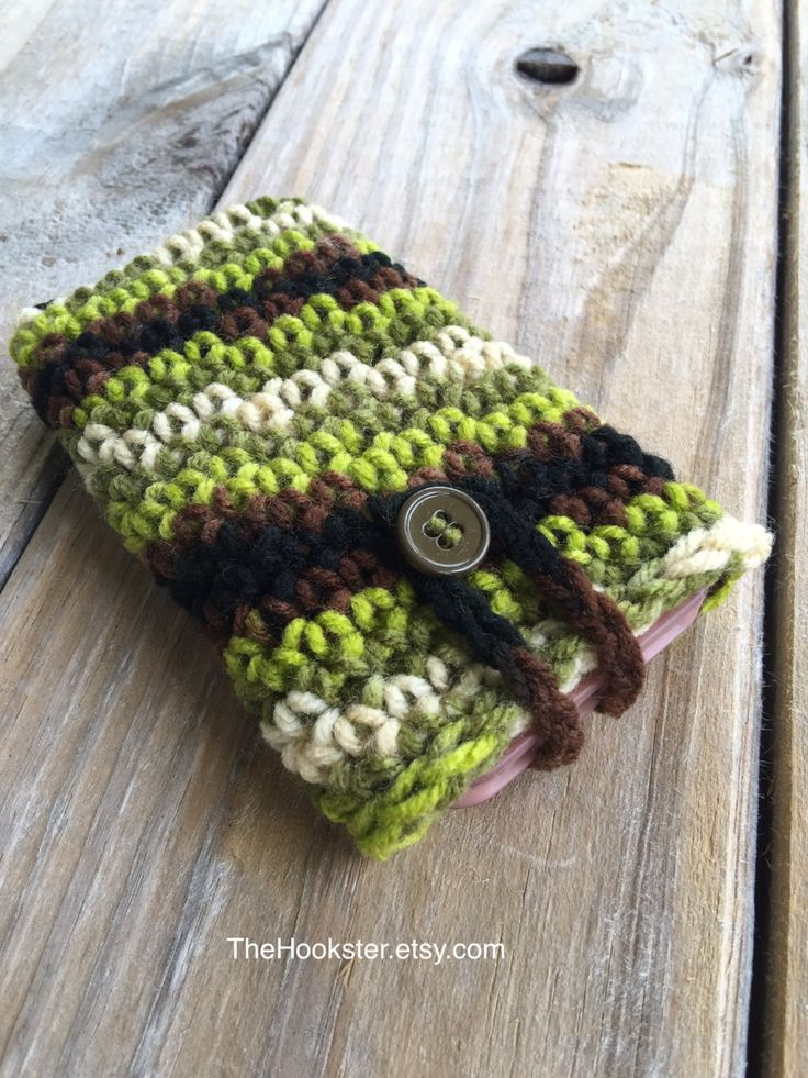 Crochet Camo iPhone Galaxy Note Case with size options, Boho iPhone Sleeve, Camo Phone Cover, Crochet Phone Case w Button, Fits all Phones by TheHookster on Etsy