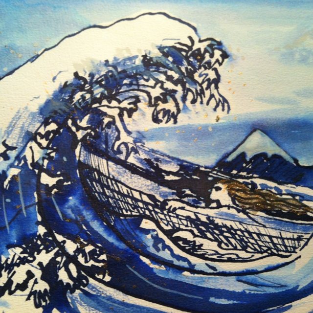 """Skiss for future art show. """"Riding out the storm"""" is about bracing yourself in those difficult times in life when you know that nasty wave is approaching."""