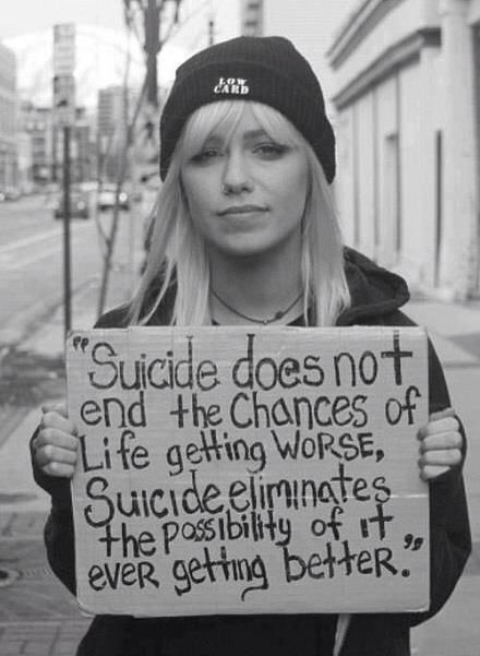 Powerful statement about suicide and hope.