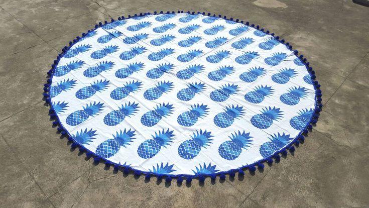 Calypso Crush Pineapple Round Beach Towel