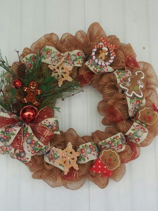 Gingerbread Man Deco Mesh Wreath 50 Wreaths