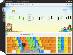 We use this free downloadable typing tutor for learning how to touch type.