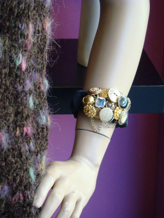 Vintage button Bracelet goldtone gold black enamel, Upcycled jewelry