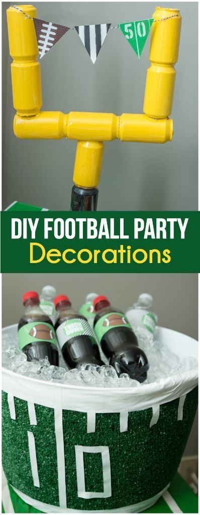 Two great DIY Super Bowl party decorations including a DIY field goal post from empty Coke cans and an awesome football field beverage bucket