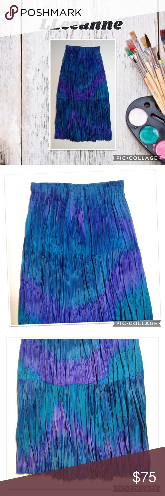 LLeeanne Original Hand Painted Silk Skirt Gorgeous blue and purple hand painted …