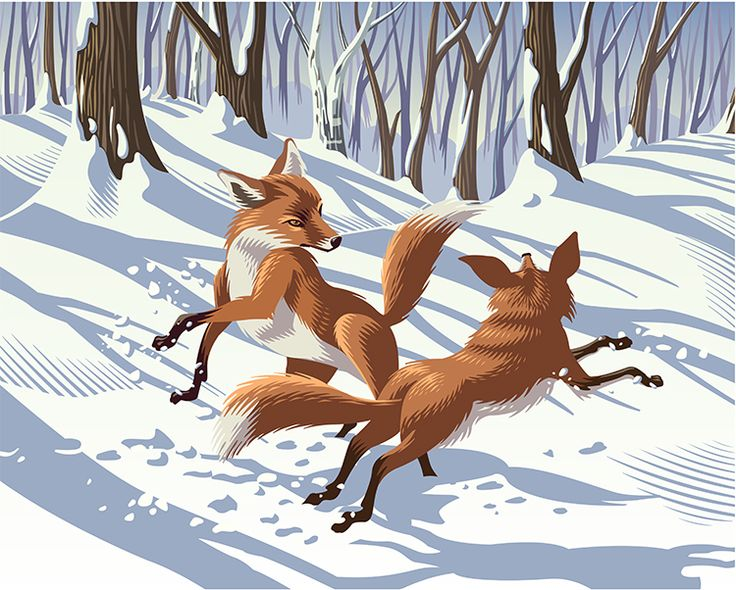 Frolicking Foxes. Illustration by ©Gary Alphonso. Represented by i2i Art Inc. #i2iart