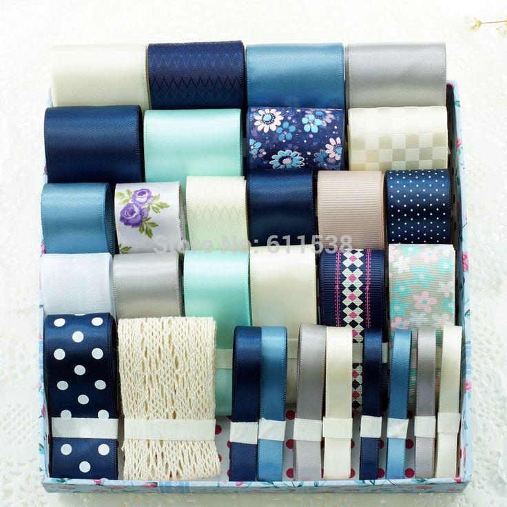 TC5 30 meters retail mix dark blue ribbon set for handmade hair bow 2014, ribbon in ribbons set
