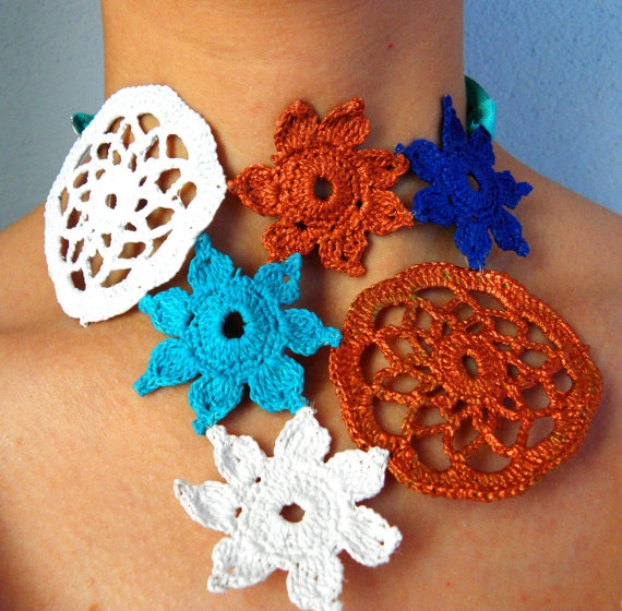 Crochet necklace multicolor  navy's collection by Leccio51 on Etsy, €45,00