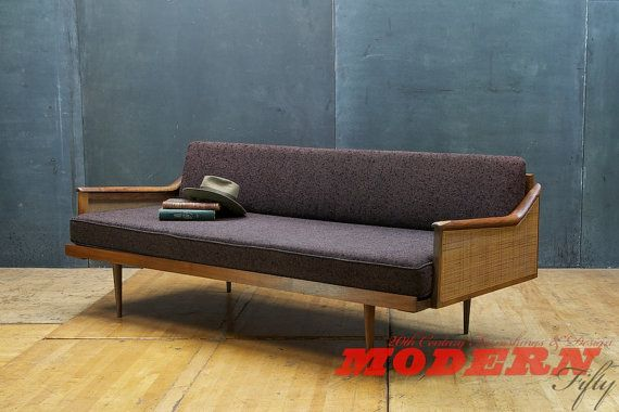 Vintage Walnut Craftsman Daybed Danish Influenced USA Made Original Upholstery Charcoal Eggplant on Etsy, $2,500.00
