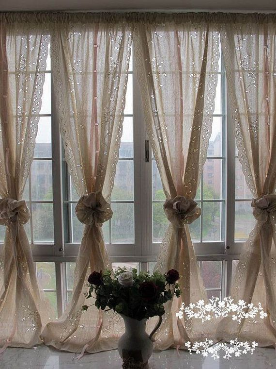 A Pair of Shabby Chic Blossom Vine Drawnwork Rod Pocket/Pinch Pleated Creamy Decorative Pull-up Sheer Panels,