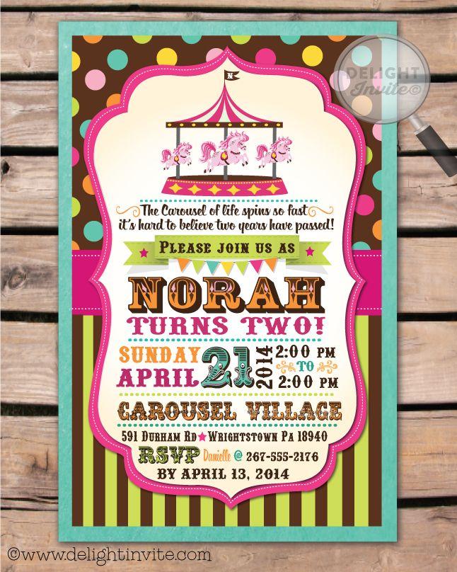 vintage carousel circus birthday invitation di268 custom invitations and for