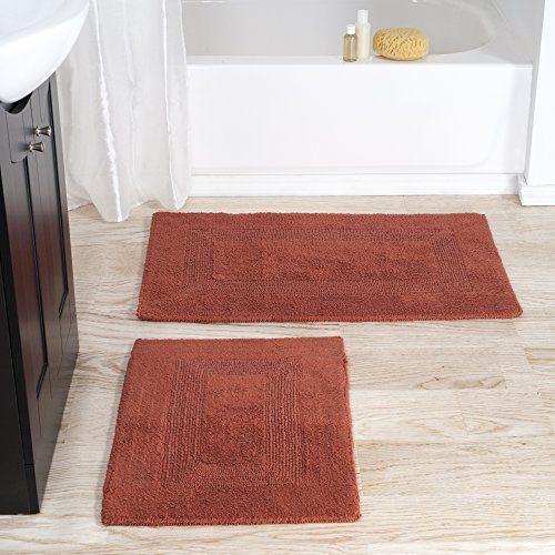 Bathroom Rugs Ideas | Bedford Home 100 Cotton 2 Piece Reversible Rug Set  Brick **