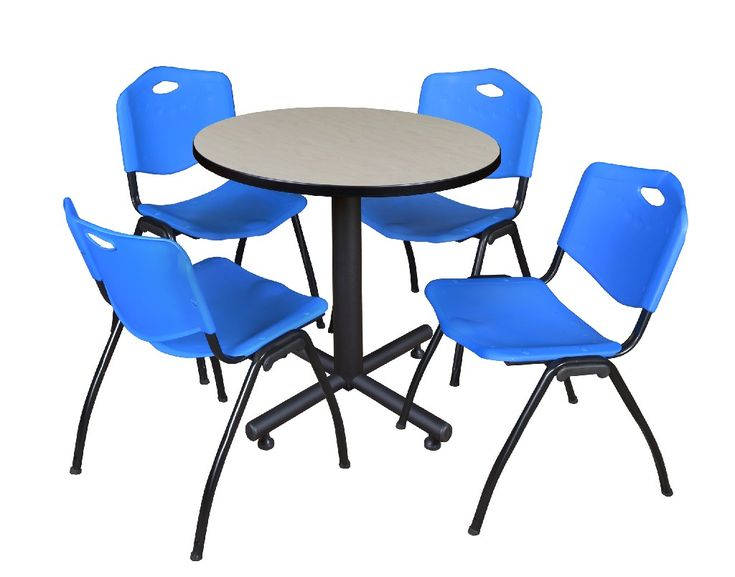 Photo of Kobe 30″ Round Breakroom Table in Maple & 4 'M' Stack Chairs…