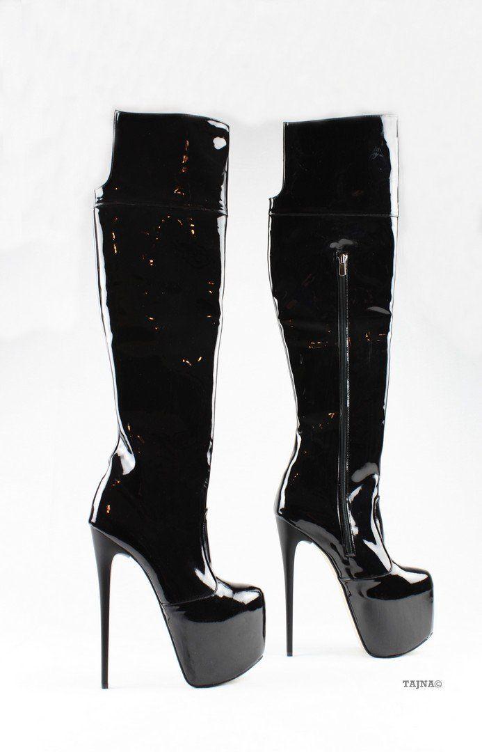 6fc17eda994 Black Patent Platform Knee High Boots – Tajna Club