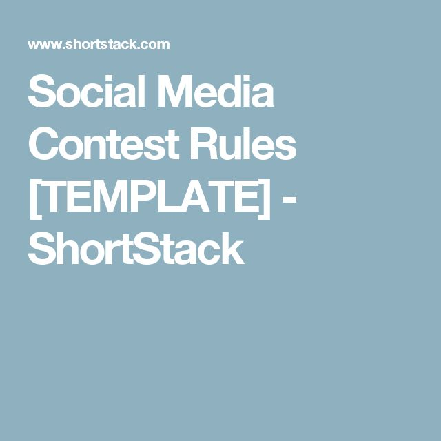 Social Media Contest Rules [TEMPLATE] - ShortStack