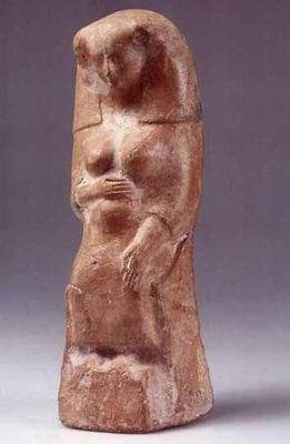 Phoenician Figurine of Pregnant Woman or goddess. Terracotta. Iron Age II, 8th-6th century BCE.